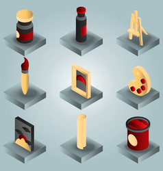 art color gradient isometric icons set vector image