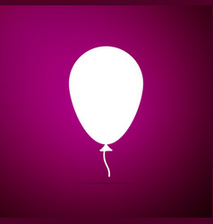 balloon with ribbon icon on purple background vector image