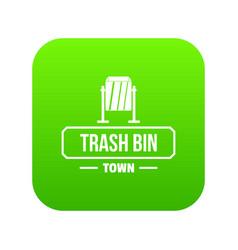 bin trash town icon green vector image