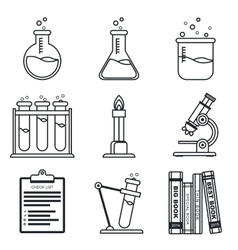 Black lineart icon set Chemistry Science vector image