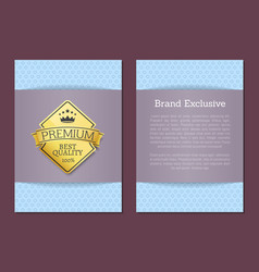 brand exclusive best quality golden label premium vector image