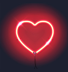 bright neon heartred neon sign heart sign on vector image