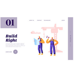 builder man building with construction crane vector image