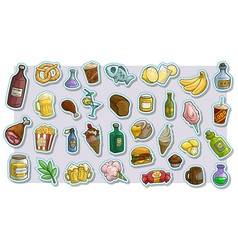 cartoon fast food and drinks icon stickers vector image