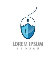 castle key in computer mouse logo concept vector image