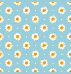 Chamomile seamless pattern daisies on blue polka vector