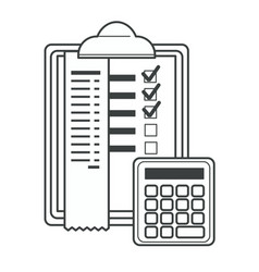 Checklist with ticks and info calculator vector