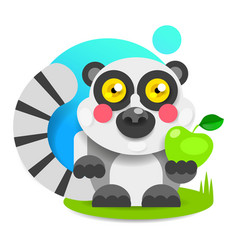 cheerful lemur with pink cheeks sits on the grass vector image