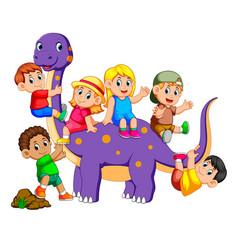 Children get into the brontosaurus vector