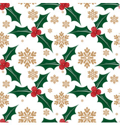 christmas holly leaves and berries ornate vector image