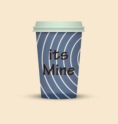 Coffee cup in hipster low poly style with text vector