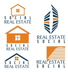 Collection of social real estate icons and design vector
