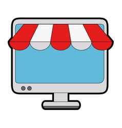computer display with parasol vector image