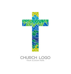 Cross of jesus christ and mosaic vector