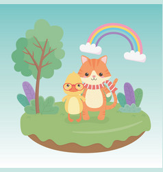 Cute and little cat and duck in field vector