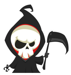 Cute cartoon grim reaper with scythe vector