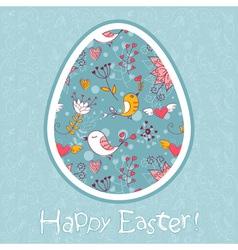 Easter egg cute floral card vector
