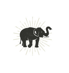 Elephant icon vintage hand drawn wild animal vector