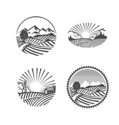 Farm logo black and white vector