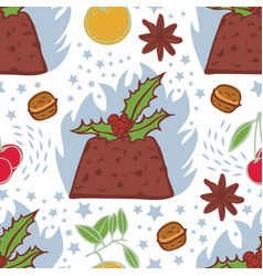 Flaming christmas pudding seamless pattern vector
