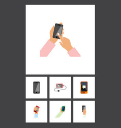 Flat icon smartphone set of accumulator vector
