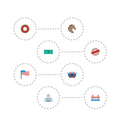 Flat icons greenback america doughnut and other vector