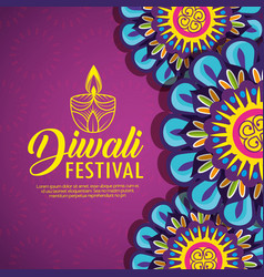 Flower mandalas and candle with diwali festival vector