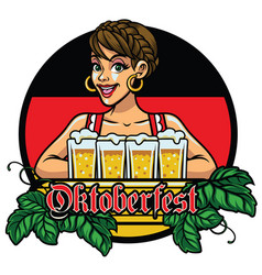 girl of oktoberfest design celebrating the vector image