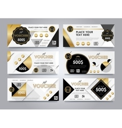 Gold gift voucher template layout vector image