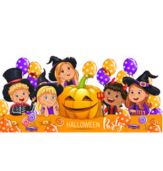 halloween party design with cute kids in costume vector image