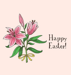 hand drawn easter gift card with lilies vector image