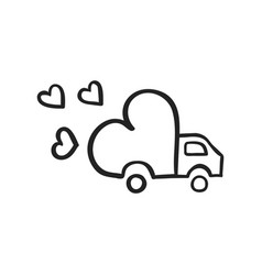 Hand drawn icon of delivery truck with love vector