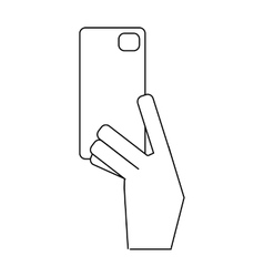 Hand holding phone icon outline style vector