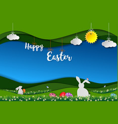 happy easter with white rabbits and colorful eggs vector image