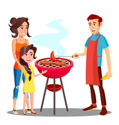 happy family having barbecue in the outdoor vector image
