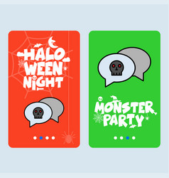 happy halloween invitation design with chat vector image