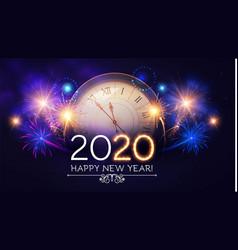 happy hew 2020 year clock fileworks lights vector image
