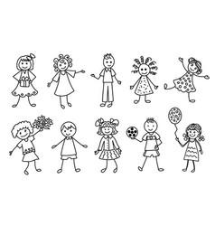 Happy kids doodle cartoon icons set vector