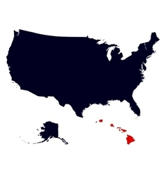 Hawaii State in the United States map vector image