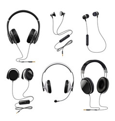 headphones realistic set vector image