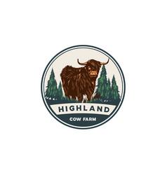 highland goat emblem logo vector image