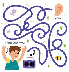 I hear with my ears funny maze game for kids vector