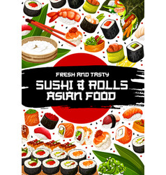 japanese restaurant poster with sushi and rolls vector image