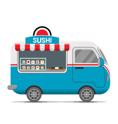 Japanese sushi food caravan trailer vector