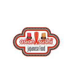 japanese sushi label of asian seafood restaurant vector image