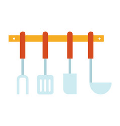 kitchen accessories set flat icon isolated vector image