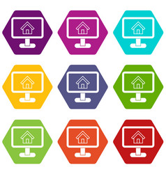 layout of house icon set color hexahedron vector image
