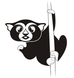 Lemur original black on white vector