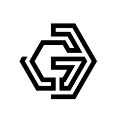 Letter g shaped labyrinth on white background vector