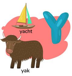 Letter y from children s alphabet vector